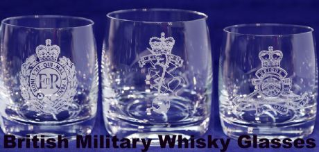 UK Military, British Army, Royal Navy and Royal Air Force, Personalised Whisky/Spirits Glass with name.